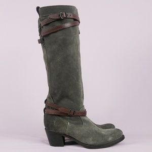 Frye Jane Slouch Suede Strappy Riding Boots sz 9.5